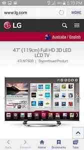 """LG 47 """" 3D SMART FULL HD LED TV ONLY 2 YEARS OLD EXCELLENT CONDIT Lane Cove Lane Cove Area Preview"""