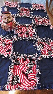 Patriotic Rag Quilt Style Table Runner ~ NEW ~ - Patriotic Table Runner