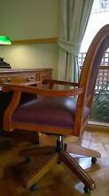 Leather CHAIR vintage reproduction desk chair w brass detailing Keilor Brimbank Area Preview