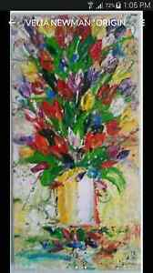 VELIA NEWMAN *ORIGINAL* PAINTING, FLORAL ART, AUSTRALIAN ARTIST Oxenford Gold Coast North Preview