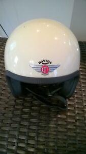 Davida Speedster Motorcycle Helmet Used Cream Nice Patina