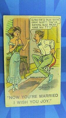 Saucy Donald McGill Comic Postcard 1913 Corset Girdle False Teeth Eye Dentist