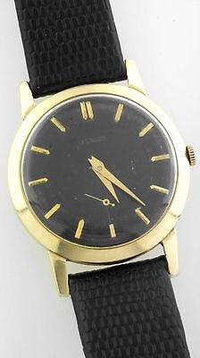 Vintage 14k Gold Jaeger Lecoultre 33279 Cal 480cn 33mm Watch Black Dial