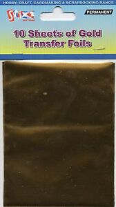 10 SHEETS TRANSFER FOILS SHINY METALLIC GOLD CARDMAKING CRAFT HOBBY STIX2 S57111