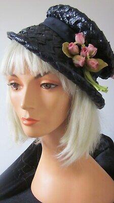 1950s Hats: Pillbox, Fascinator, Wedding, Sun Hats 1950,s navy glace straw /grosgrain brimmed hat with pink flower trim by Arlingto $44.33 AT vintagedancer.com