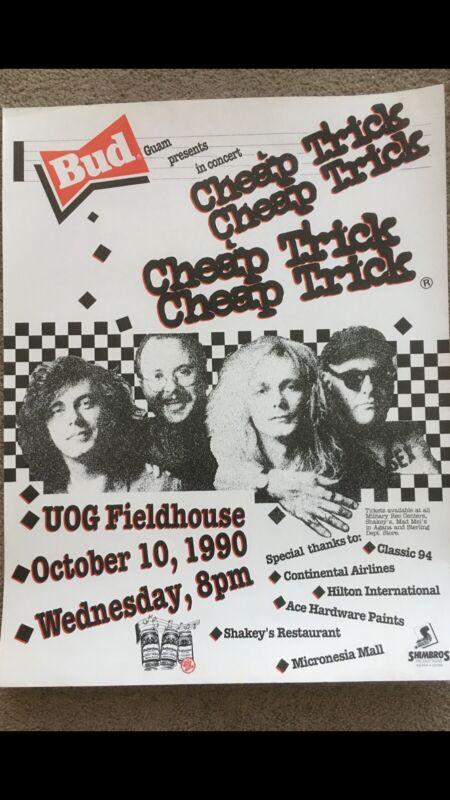 CHEAP TRICK 1990 ORIGINAL VINTAGE GUAM CONCERT POSTER. Near Mint!