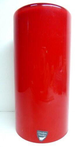 VINTAGE ORREFORS RED WHITE CASED ART GLASS CANDLE HOLDER MID CENTURY STUDIO