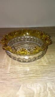 pressed glass candy bowl with yellow trim