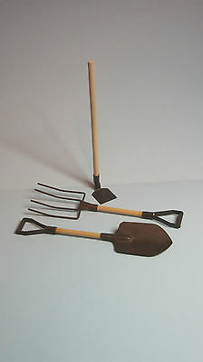 Miniature Garden Shovel (Miniature Rustic Tin Garden Tools Shovel Hoe Pitchfork - Fairy Garden -Large)