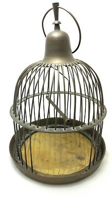 "Vintage  Decorative  Bronze Brass Metal  Birdcage with Swing 15""  608"