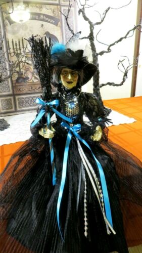 """HALLOWEEN WITCH DOLL W/ BROOM,FEATHERS,SPIDER- TURQ -22"""" SHELF SITTER - CLASSY"""