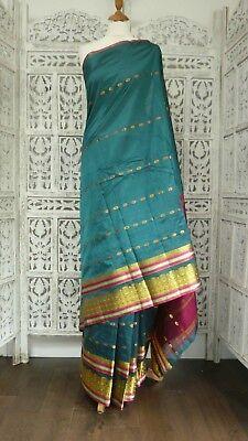 Teal Saree (Teal vintage silk sari new with gold border saree SKU15177)