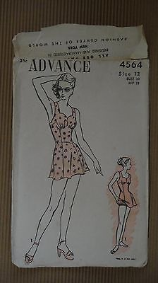 VINTAGE 1940' ADVANCE PATTERN #4564 SEWING MODEL WOMEN FASHION NEW YORK