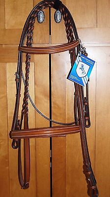Bobby's Platinum English Leather Light Brown Padded Bridle w/Reins -  FULL sz