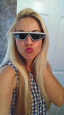 Small Diamond Rhinestone Sunglasses Bling Fashion Sunnies Cateye Ladies (Small Ladies Sunglasses)
