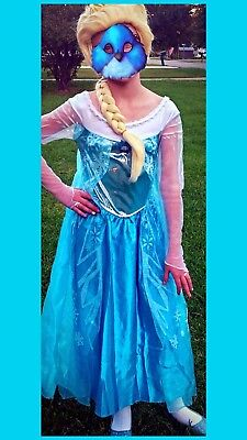 Disney Frozen Elsa Deluxe Child Halloween Costume Size L 10-12 Dress Tiara Wig - Elsa Halloween Costume Size 10-12
