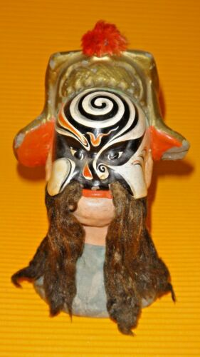 RARE ANTIQUE HAND PAINTED CHINESE CHINA PEKING OPERA MASK CLAY STATUE SIGNED