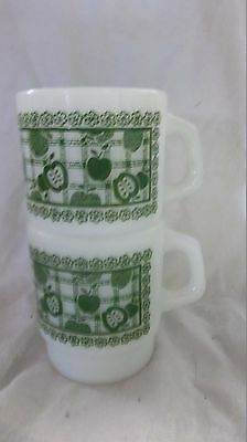 2 Anchor Hocking FIRE KING GREEN APPLES STACKING CUP MUGs Milkglass  Gingham