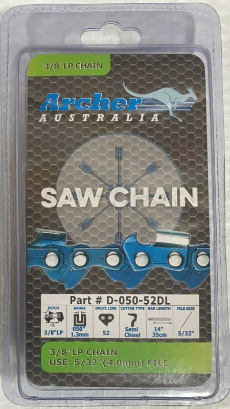 """14"""" Chainsaw Saw Chain Blade Chicago Electric 67255 3/8""""LP .050 Gauge 52DL S52"""
