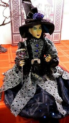 HALLOWEEN WITCH DOLL W/SKULL, JEWELS, SPIDERS -25