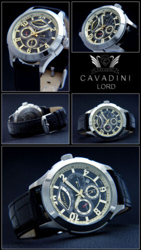 Cavadini Kalender Herren Automatik Uhr LORD, Kaliber Miyota 9100, schwarz-gold