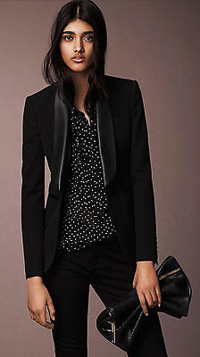 NWT $1350 Burberry London  Black  Wool Jacket With Leather Collar 36  US 2