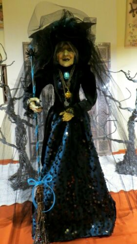 """HALLOWEEN WITCH DOLL w/NECKLACES,BROOM,RAVEN, FEATHERS, 25"""" STANDING FULL BODY"""