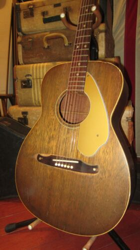 Circa 1969 Fender Newporter Small Bodied Acoustic Guitar Natural Plays Great!
