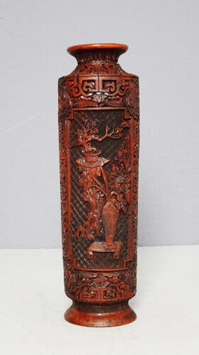 Chinese  Red  Lacquer-wear  Incense  Burner  With  Mark     M2100-2