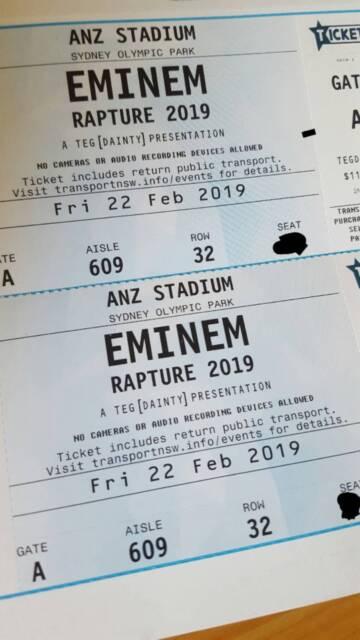 Eminem Rapture 2019 Sydney Concert - 2 x HARDCOPY | Concerts