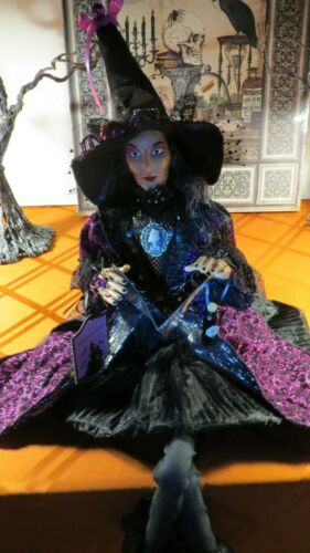"""HALLOWEEN WITCH DOLL W/SPELL BOOK, POTIONS, PENDANT, SPIDERS 26"""" SHELF SITTER"""