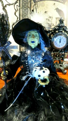 """HALLOWEEN WITCH DOLL W/BROOM, JEWELS, PUMPKIN, FEATHERS 23"""" BL.& WHITE SITTER"""