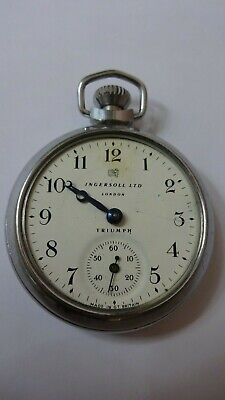 vintage ingersoll ltd london triumph mechanic pocket watch made in great Britain