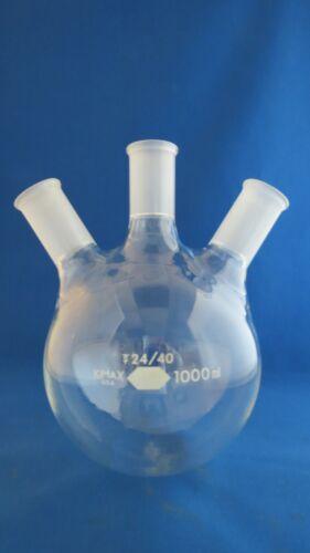 Kimax 1000mL Round Distilling Flask 3 Neck  24/40