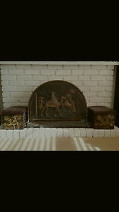 Brass Fire screen with matching Brass/ Timber Storage Boxes North Melbourne Melbourne City Preview