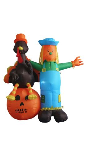 USED 6 Foot Thanksgiving Inflatable Scarecrow Turkey Pumpkin Party Decoration