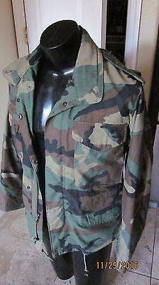 M 65  US ARMY  ALPHA WOODLAND CAMO HOOD COLD WEATHER JACKET COAT X SMALL SHO