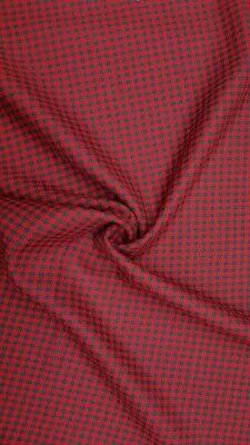 100% Wolle (wunderschöner Kleinkarostoff rot/grau 100% reine Schurwolle Meterware)