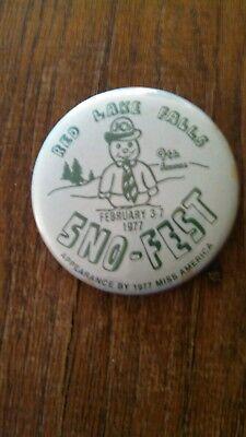 Vintage Collectible ButtonPinBack JC's 9thAnnual SnoFest RedLakeFalls MN 1977