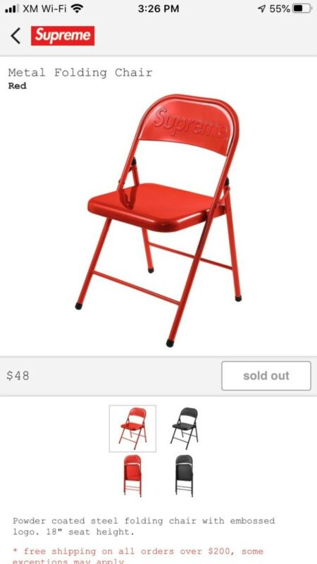 Supreme Metal Folding Chair Red (IN HAND)