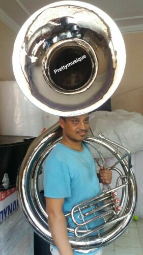 "SOUSAPHONE BIG 25"" BELL JUMBO OF PURE BRASS IN CHROME POLISH+CASE+FREE SHIP BRS"