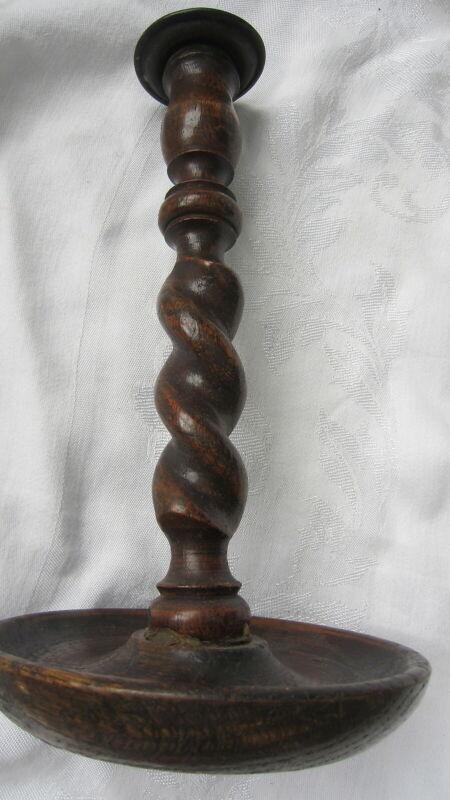 Vintage Antique Dark Wood Turned Candlestick Candle Holder Barley Twist Oak