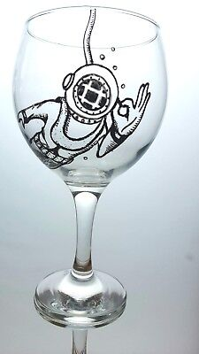 Vintage Diver Bespoke Hand Painted Gin Glass
