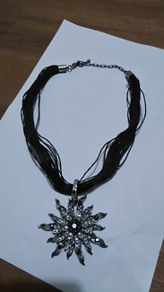 Black leather necklace with rhinestones