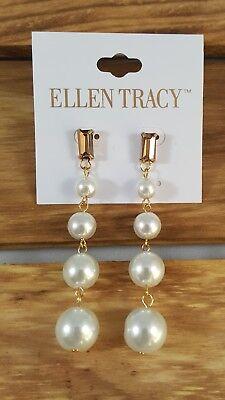 Ellen Tracy Long Faux Pearl Drop Earrings Pierced Gold Plated Brown