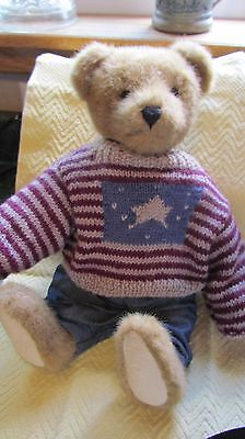 """Boyds Bear """"Teddy"""" - The Archive Collection with Flag Sweater and Denim Overalls"""