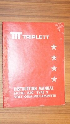 Triplett Instrucction Manual Model 630 Type 3 Volt-ohm Milliameter