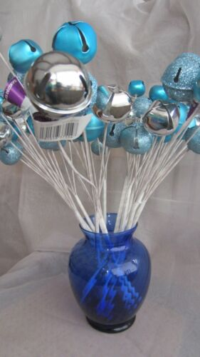 12 Silver & Blue Jingle Bells Bouquet For Crafts Projects NWT Christmas Decor