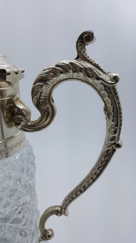 VINTAGE DIAMOND CUT CRYSTAL CARAFE WITH SILVER PLATED PITCHER MADE IN ITALY