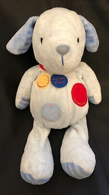 Carters MY BEST FRIEND Blue Puppy Rattle Just One Year Plush Spots Stripes